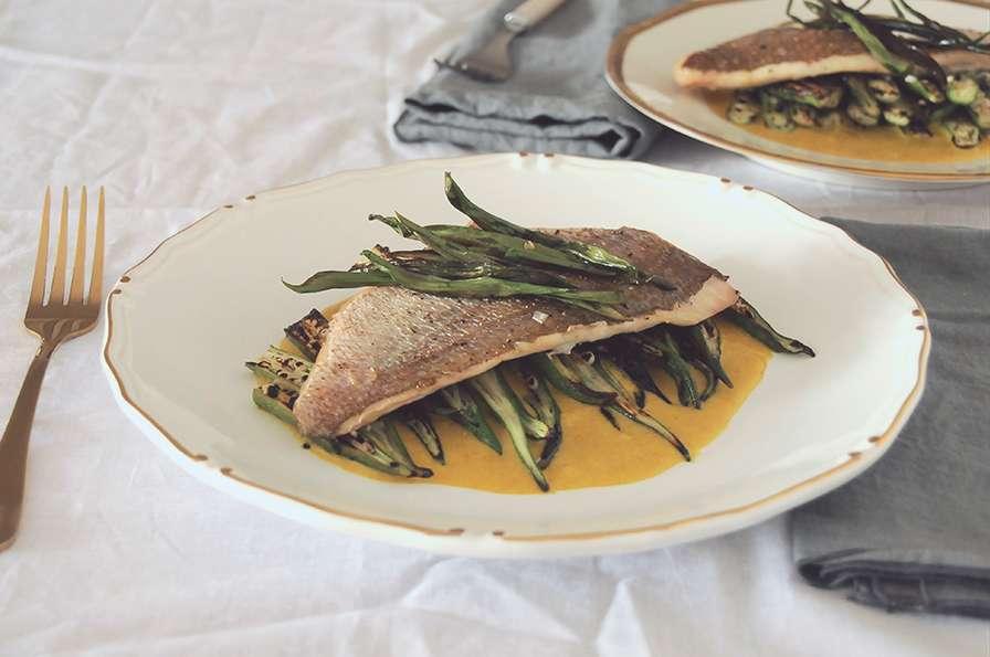 pargo peixe assado com quiabo tostado sabor em jogo gnt